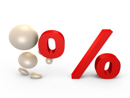 Forming the percent sign - 3D image photo