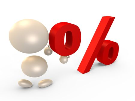 Forming the percent sign, left view - 3D image photo