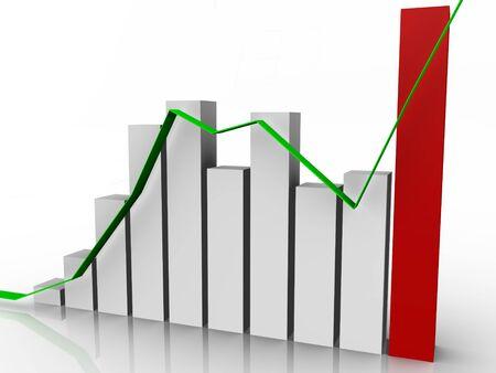 Bar graph with progress line - 3d image Stock Photo