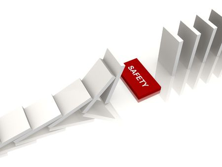 White dominos with a safety gap - a 3d image Stock Photo