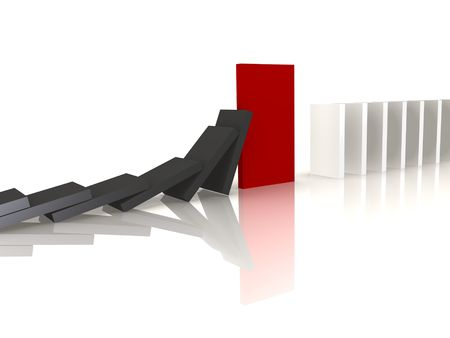 security gap: Red domino blocking the fall - a 3d image Stock Photo