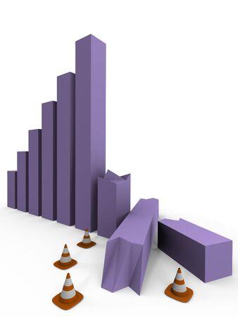 crisis economica: Imagen de un 3d de gr�fico de barras que se estrell�, en construcci�n- Foto de archivo