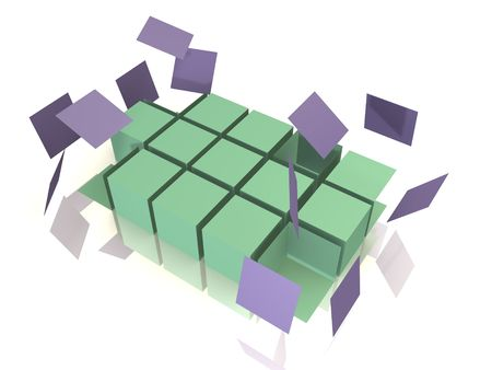 deconstruct: A cube array is falling apart - 3d abstract image