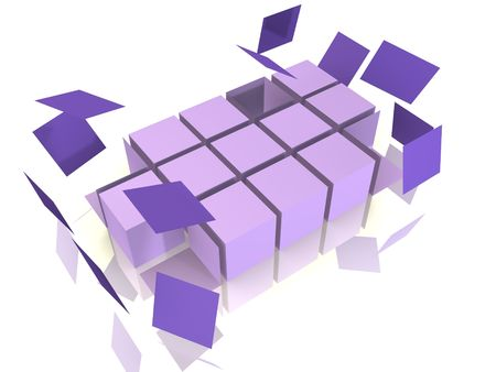 falling apart: A cube array is falling apart - 3d abstract image