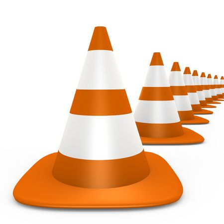 Traffic cones fading to the background - 3d image Stock Photo - 6565253