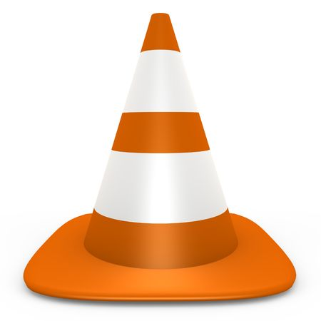 An isolated orange traffic cone - 3d image Stock Photo - 6565246