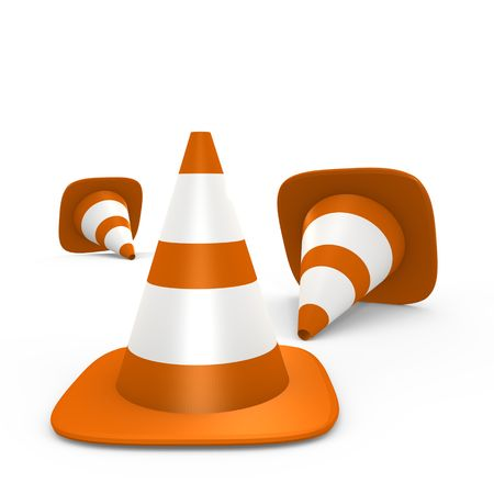 Traffic cones on the ground - 3d image