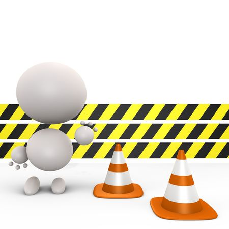 proceed: Construction ahead, do not proceed - 3d image Stock Photo