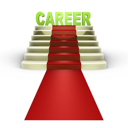 Red carpet to a successful career - a 3d image
