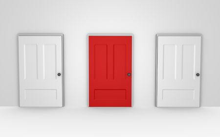 Three doors to choose from - a 3d image  Stock Photo