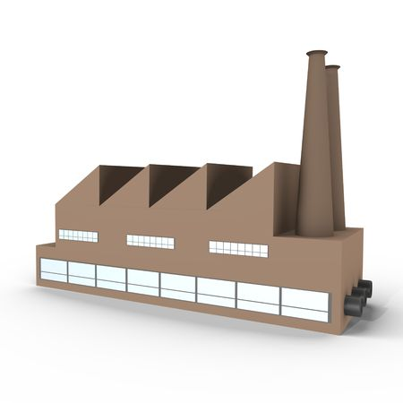 chimneys: An isolated industrial factory - a 3d image