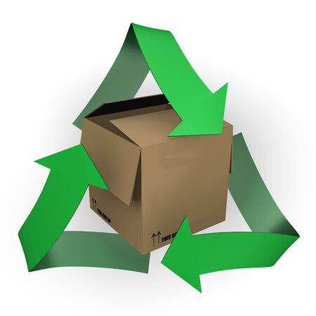 A carton box with recycle symbol - 3d image