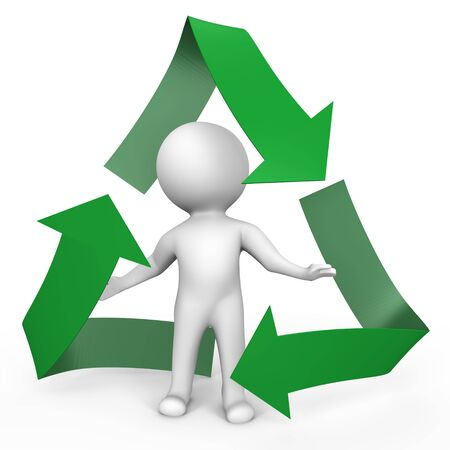 A human inside the recycle symbol - a 3d image photo