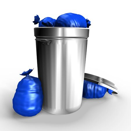 blue bin: A full metallic trash can - a 3d image Stock Photo
