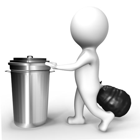 rubbish bin: Human taking the trash out - a 3d image