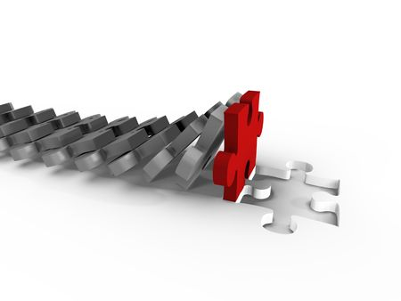 A domino of puzzle filling the gap - 3d image Stock Photo