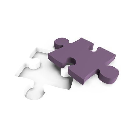 Purple puzzle piece with gap - a 3d image Stock Photo