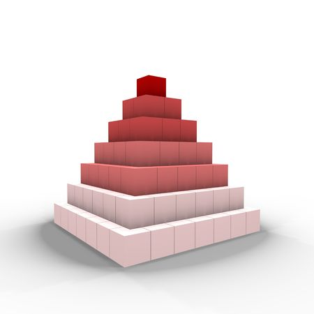A pyramid of cubes - a 3d image photo