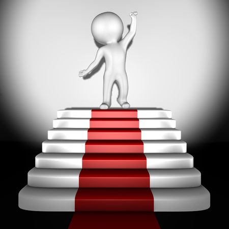Human on top of red carpet - 3d image Stock Photo