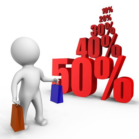 Shopping at sales time - a 3d image photo