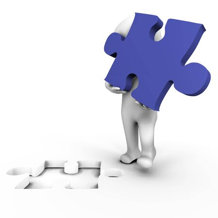 missing piece: Human holding the missing puzzle piece - 3d image