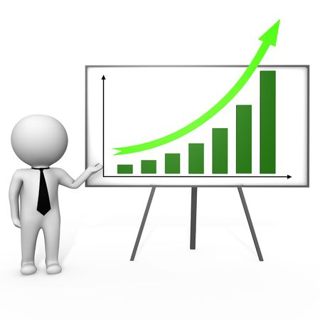 sales graph: Human doing a presentation - a 3d image