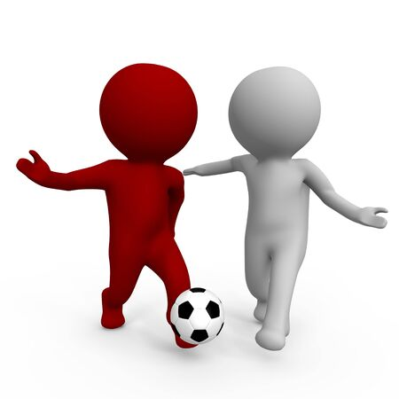 Two people playing soccer - a 3d image photo