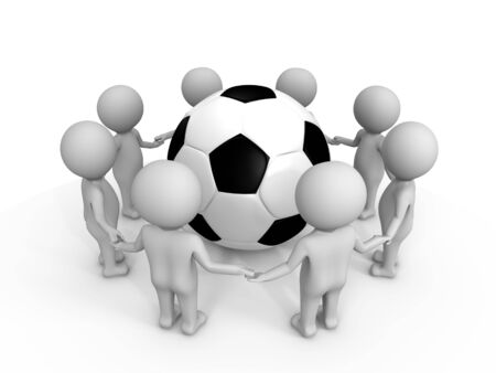 uniting: Soccer uniting the people - a 3d image Stock Photo