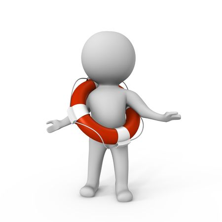 Human with a life buoy - a 3d image photo