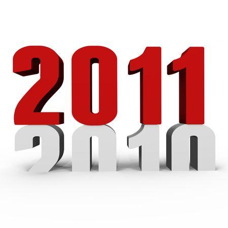 cronologia: A�o nuevo 2011 empujando 2010 hacia abajo - una imagen 3d  Foto de archivo