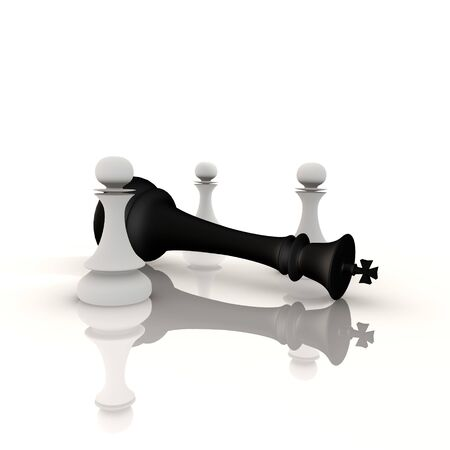 defeated: King defeated by pawns - a 3d image
