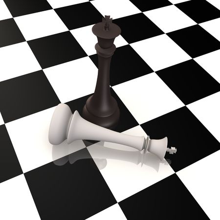 King defeats king in chess game - 3d image Stock Photo - 8032277