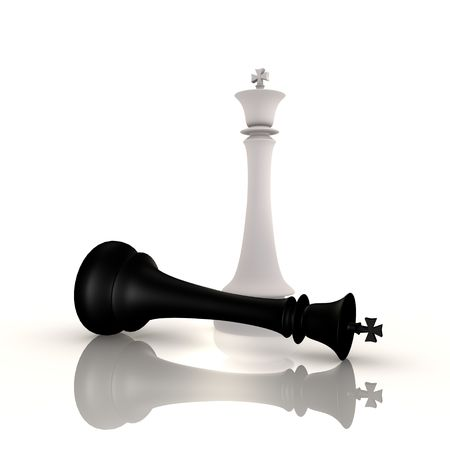 pawn king: King defeats king in chess game - 3d image