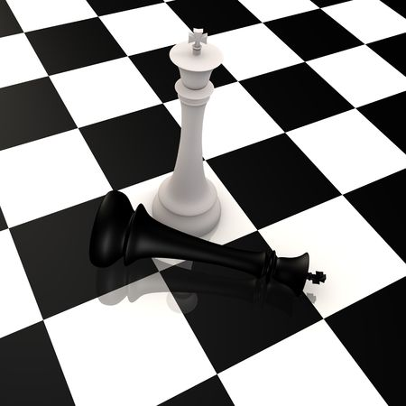 King defeats king in chess game - 3d image