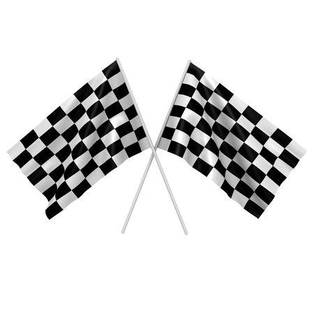cuadros blanco y negro: Imagen de un 3d de dos de raza a cuadros de banderas-