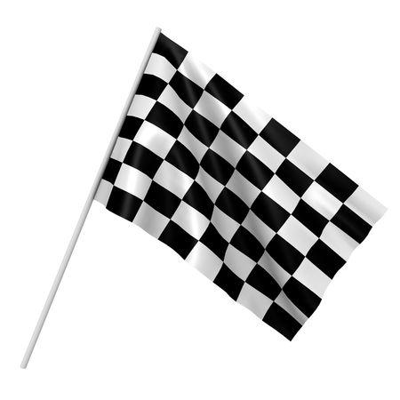 schwarz weiss kariert: Ein kariertes Rennen Flag - ein 3d abbild