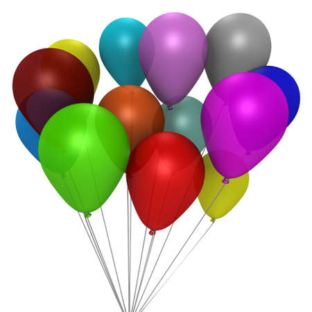 A bouqeut of colorful balloons - a 3d image Stock Photo