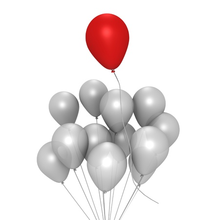 Red balloon flying away - a 3d image