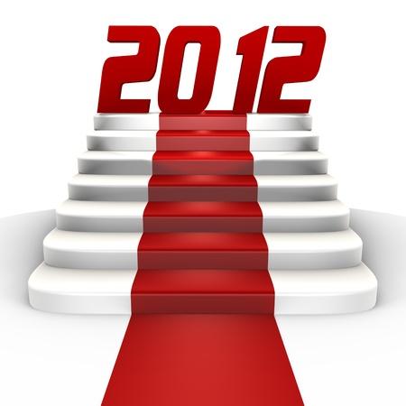 cronologia: Imagen de un 3d de 2012 de a�o nuevo en una alfombra roja- Foto de archivo