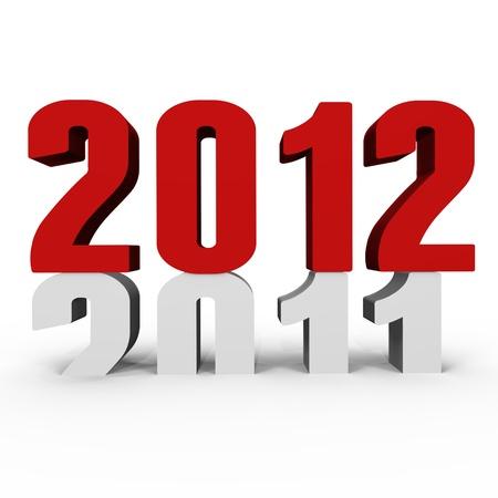 chronologie: Nouvelle ann�e 2012 poussant 2011 down - une image 3d