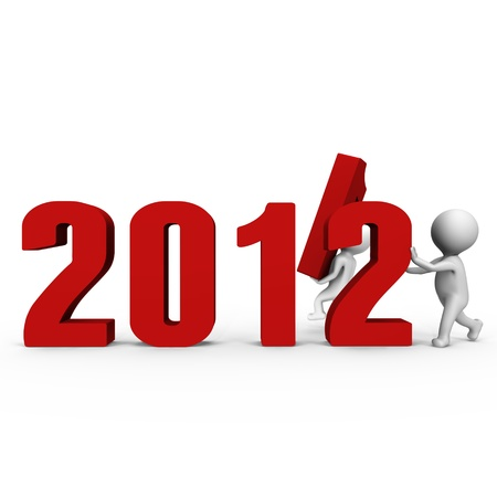 replacing: Replacing numbers to form new year 2012 - a 3d image Stock Photo