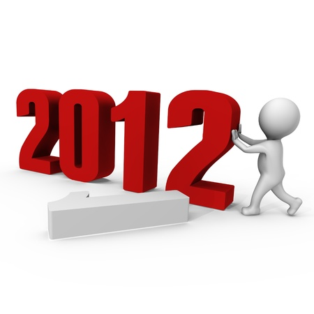 Replacing numbers to form new year 2012 - a 3d image Stock Photo