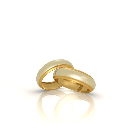 golden ring: A pair of gold and silver wedding rings - a 3d image Stock Photo