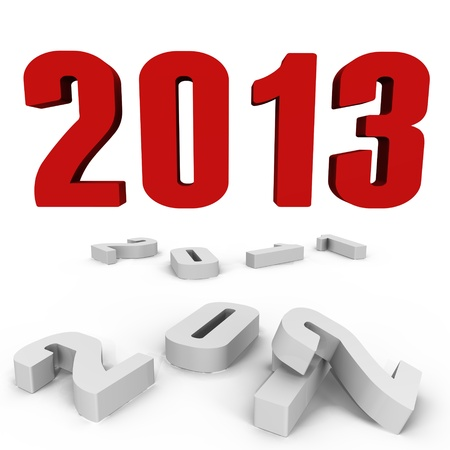 New Year 2013 over the past ones - a 3d image Stock Photo
