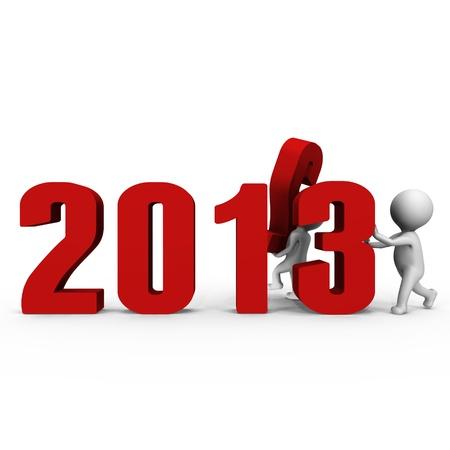 chronologie: Remplacement nombre pour former la nouvelle ann�e 2013 - une image 3d