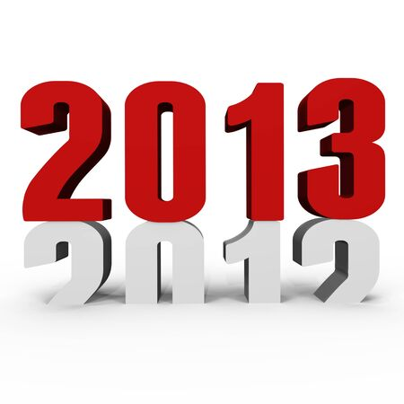 New Year 2013 pushing 2012 down - a 3d image Stock Photo