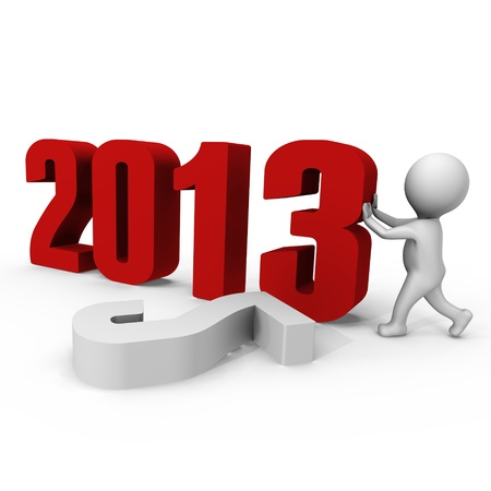 Replacing numbers to form new year 2013 - a 3d image