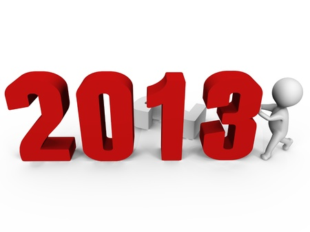 Replacing numbers to form new year 2013 - a 3d image photo