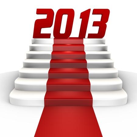 cronologia: A�o nuevo 2013 en una alfombra roja - una imagen en 3D Foto de archivo
