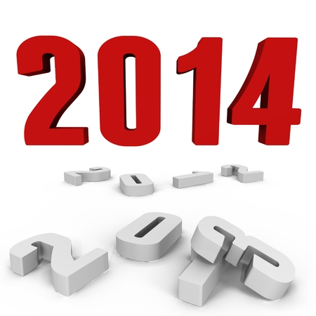 New Year 2014 over the past ones - a 3d image